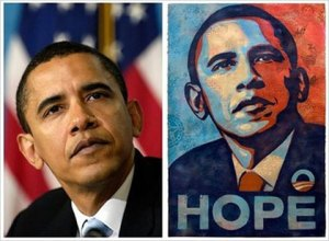 "The original photo of Barack Obama and Shepard Fairey's ""Hope"" poster. (Associated Press)"